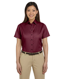 Wine Women's Short-Sleeve Twill Shirt with Stain-Release