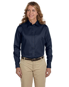 Navy Women's Long-Sleeve Twill Shirt with Stain-Release