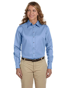 Light College Blue Women's Long-Sleeve Twill Shirt with Stain-Release