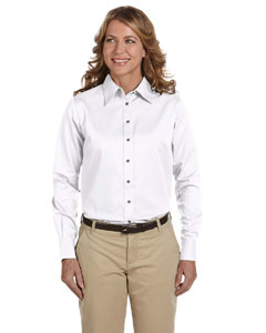 White Women's Long-Sleeve Twill Shirt with Stain-Release