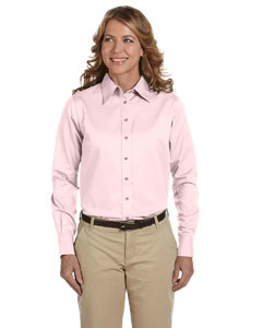 Blush Women's Long-Sleeve Twill Shirt with Stain-Release