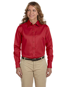 Red Women's Long-Sleeve Twill Shirt with Stain-Release