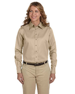 Stone Women's Long-Sleeve Twill Shirt with Stain-Release