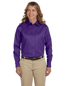 Team Purple Women's Long-Sleeve Twill Shirt with Stain-Release