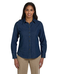 Dark Denim Women's Long-Sleeve Denim Shirt