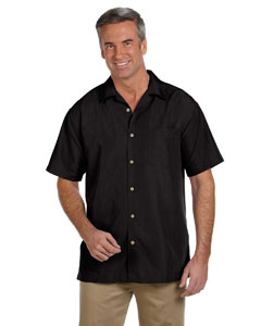 Black Men's Barbados Textured Camp Shirt