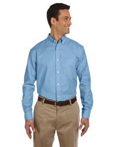 Light Blue Men's Long-Sleeve Oxford with Stain-Release