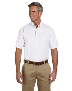 White Men's Short-Sleeve Oxford with Stain-Release