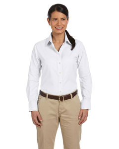 White Women's Long-Sleeve Oxford with Stain-Release