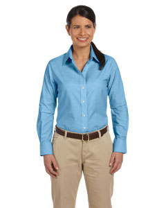 Light Blue Women's Long-Sleeve Oxford with Stain-Release