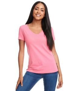 Hot Pink Ladies Ideal V-Neck Tee