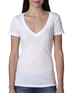 White Ladies Deep V-Neck Tee