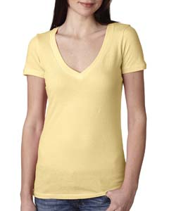 Banana Cream Ladies Deep V-Neck Tee