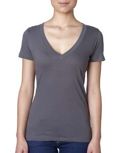 Dark Gray Ladies Deep V-Neck Tee