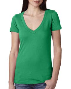 Kelly Green Ladies Deep V-Neck Tee