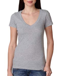 Heather Gray Ladies Deep V-Neck Tee
