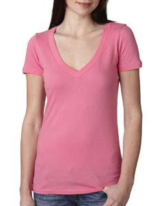 Hot Pink Ladies Deep V-Neck Tee