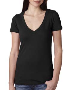 Black Ladies Deep V-Neck Tee