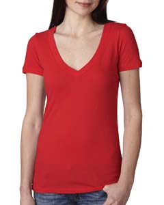 Red Ladies Deep V-Neck Tee