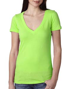 Neon Green Ladies Deep V-Neck Tee