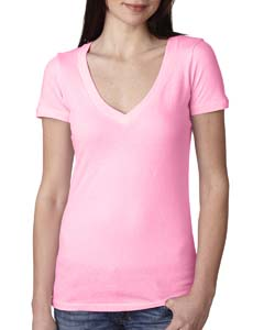 Neon Hthr Pink Ladies Deep V-Neck Tee