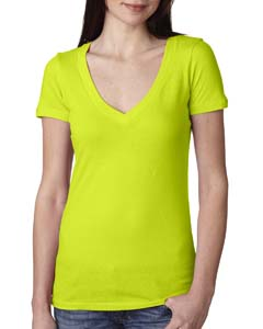 Neon Yellow Ladies Deep V-Neck Tee