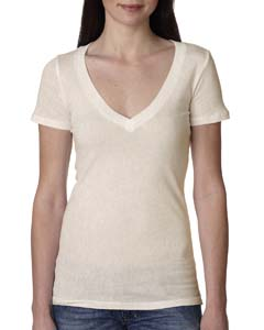 Oatmeal Ladies Deep V-Neck Tee