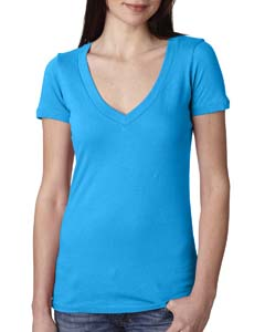 Turquoise Ladies Deep V-Neck Tee