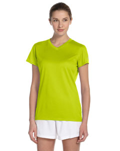 Safety Green Women's Ndurance Athletic V-Neck T-Shirt