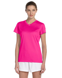 Safety Pink Women's Ndurance Athletic V-Neck T-Shirt