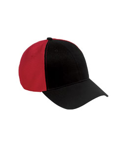 Black/red Old School Baseball Cap with Technical Mesh