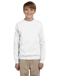 White Youth 7.8 oz. ComfortBlend® EcoSmart® 50/50 Fleece Crew
