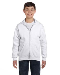 White Youth 7.8 oz. ComfortBlend® EcoSmart® 50/50 Full-Zip Hood