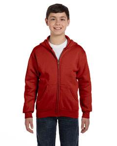 Deep Red Youth 7.8 oz. ComfortBlend® EcoSmart® 50/50 Full-Zip Hood