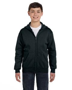 Black Youth 7.8 oz. ComfortBlend® EcoSmart® 50/50 Full-Zip Hood