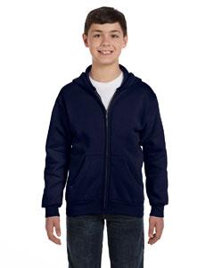 Navy Youth 7.8 oz. ComfortBlend® EcoSmart® 50/50 Full-Zip Hood