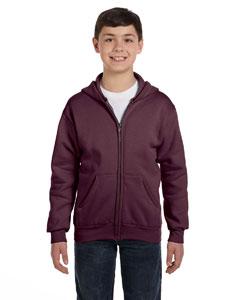 Maroon Youth 7.8 oz. ComfortBlend® EcoSmart® 50/50 Full-Zip Hood