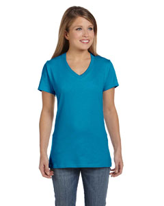 Teal Women's 4.5 oz., 100% Ringspun Cotton nano-T® V-Neck T-Shirt