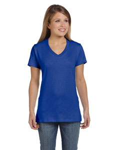 Deep Royal Women's 4.5 oz., 100% Ringspun Cotton nano-T® V-Neck T-Shirt