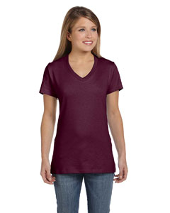Maroon Women's 4.5 oz., 100% Ringspun Cotton nano-T® V-Neck T-Shirt
