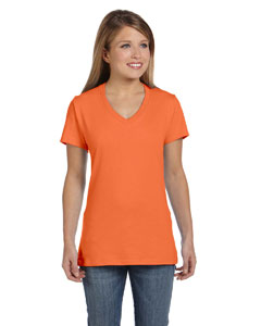 Vintage Orange Women's 4.5 oz., 100% Ringspun Cotton nano-T® V-Neck T-Shirt