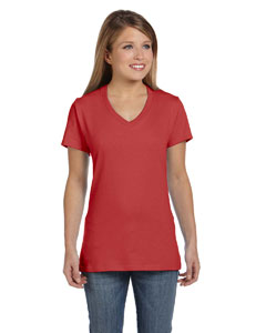 Vintage Red Women's 4.5 oz., 100% Ringspun Cotton nano-T® V-Neck T-Shirt