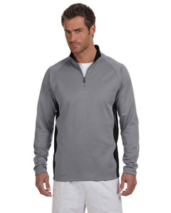 Stone Gray/blk 5.4 oz. Performance Colorblock Quarter-Zip Pullover