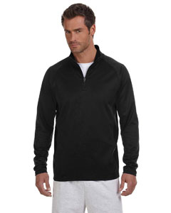 Black/black 5.4 oz. Performance Colorblock Quarter-Zip Pullover