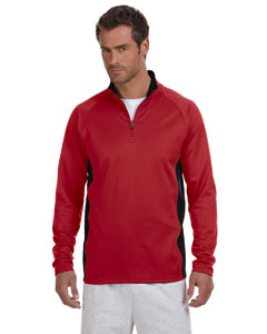 Scarlet/black 5.4 oz. Performance Colorblock Quarter-Zip Pullover