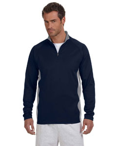 Navy/stone Gray 5.4 oz. Performance Colorblock Quarter-Zip Pullover