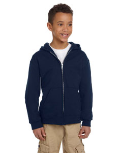 Navy Youth Eco® 9 oz., 50/50 Full-Zip Hood