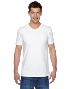 White 4.7 oz., 100% Sofspun™ Cotton Jersey V-Neck T-Shirt