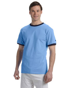 Light Blue/navy 5.2 oz. Tagless Ringer T-Shirt