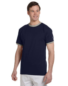 Navy/oxford Gray 5.2 oz. Tagless Ringer T-Shirt